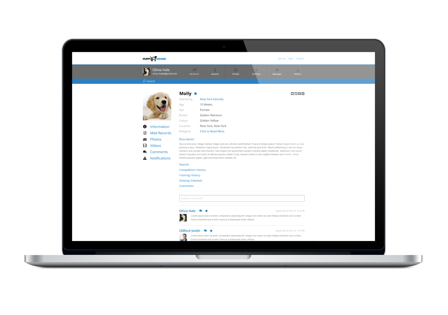 Puppyviewer network for finding your next dog